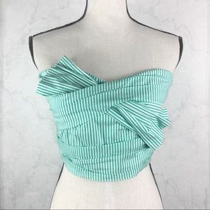 [DO+BE] Mint Stripped Crop Top